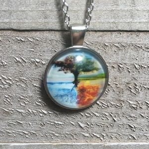 Tree of Life Elements Cabochon Silver Necklace